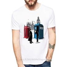 Top Quality White funny men Box t shirt casual short sleeve Box collide Doctor Who printed mens T-shirt Fashion cool T shirt