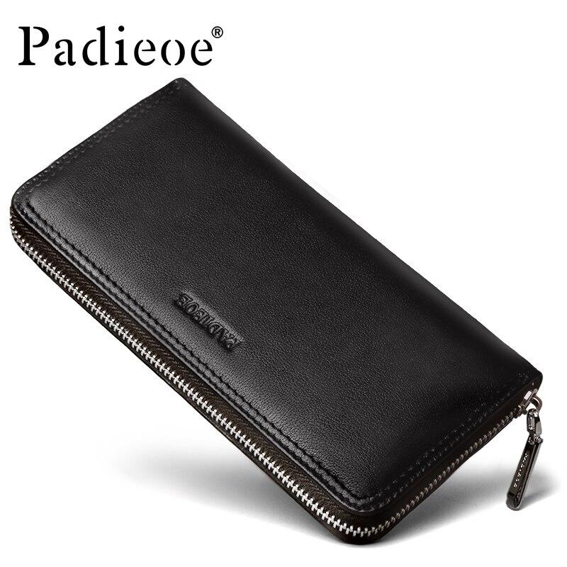Padieoe Men Long Genuine Leather Wallet Clutch Purse Handbags For Male Luxury Wallet Men Black Red Zipper Wallet Phone Bag Men