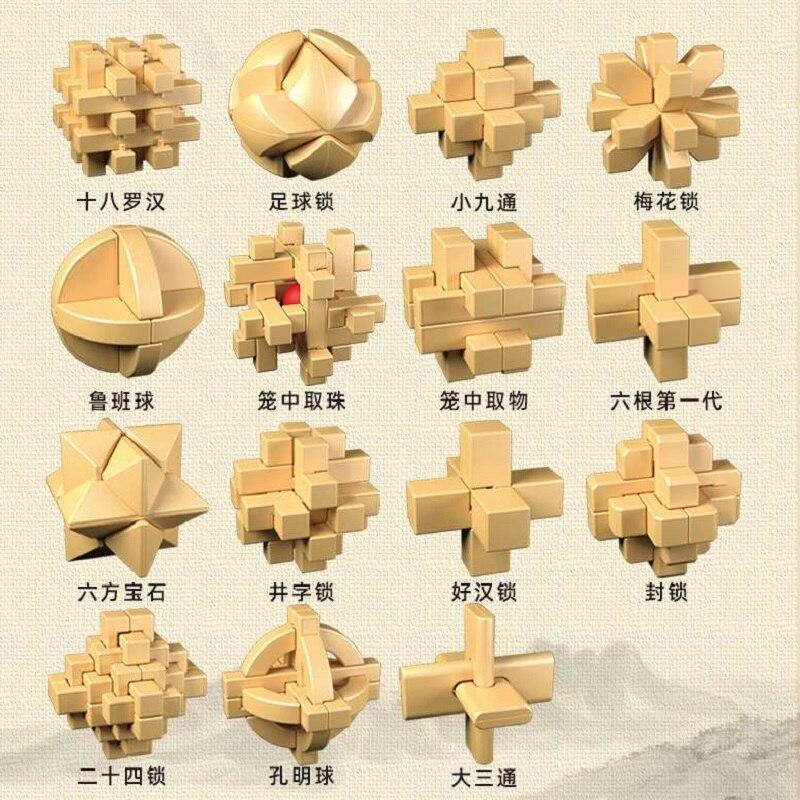 Qiyi Kong Ming Lock Puzzle Chinsese Puzzle Box King Football Lock  Plum Blossom Lock 15pcs Chinese Puzzle Toys Lock Puzzle