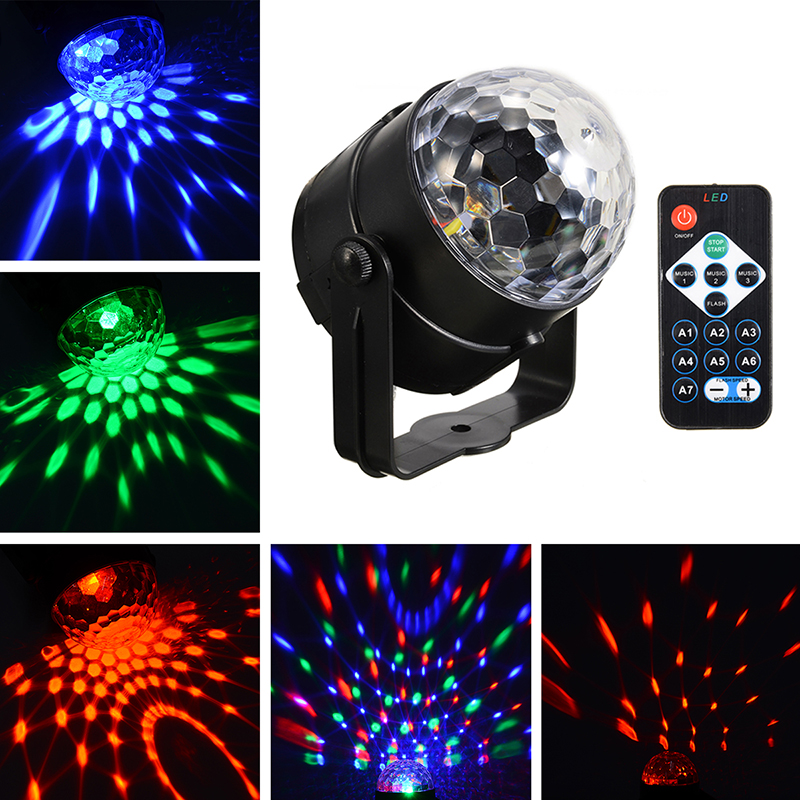 7Colors Remote Control LED Disco Ball Light Rotating Stage Laser Light Lamp KTV Stage Light Sound Rhythm Control Colors Changing