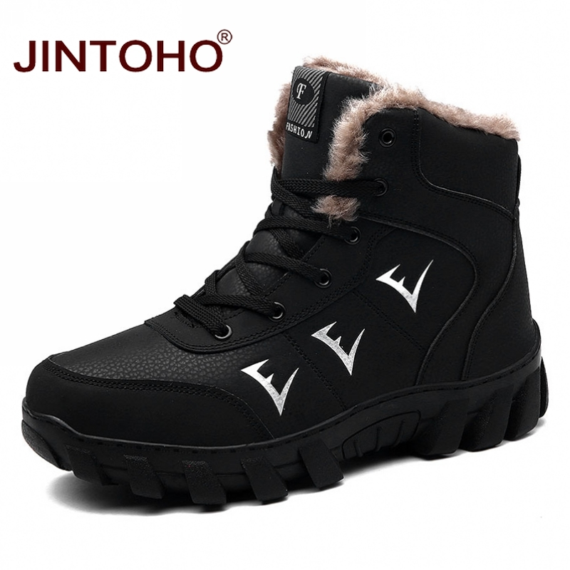 JINTOHO Male Snow Boots Fashion Men Winter Boots Genuine Leather Men Shoes Brand Men Ankle Leather Boots Male Winter Snow Shoes