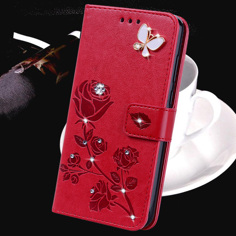 Rose Flower Leather Flip Case for <font><b>Alcatel</b></font> 1 1C 1X 1S 1V 2019 2020 5033D 5009D 5003 5059 <font><b>5008Y</b></font> 5024 A3 5046D Diamond Wallet Cover image