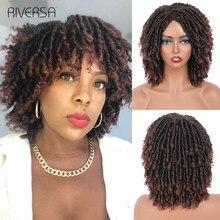 Dreadlock-peluca trenzada para mujer rizada corta, resistente al calor, de fibra sintética, para uso diario, Riversa, color negro y marrón