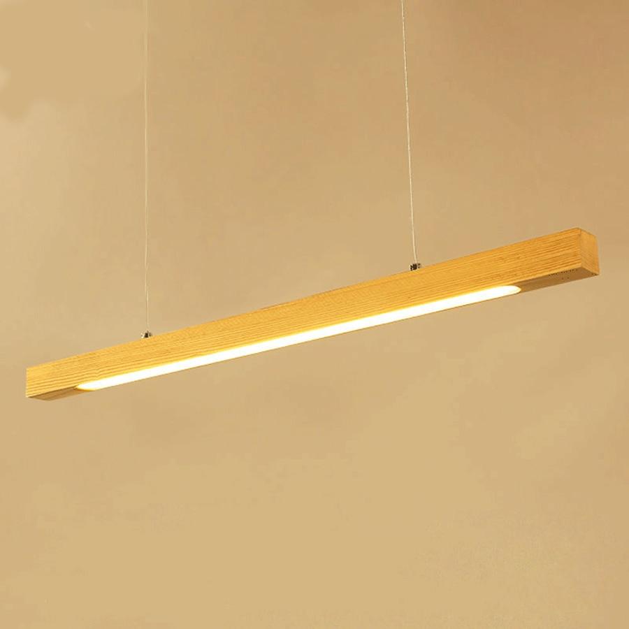 Bois pendentif LED lumière barre linéaire lampe suspendue horizontale 80cm 120cm salle à manger cuisine bureau luminaire Suspension lampe - 4