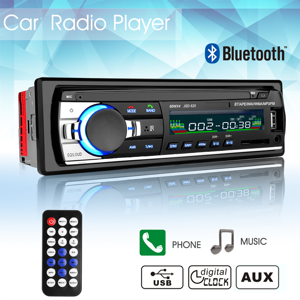 60WX4 Car Radio Car Audio Stereo In-dash 1 Din 12V Bluetooth FM Aux Input Receiver USB MP3 MMC WMA Car Radio Mp3 Player image