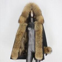 BLUENESSFAIR-Chaqueta larga impermeable de invierno para mujer, abrigo de piel de zorro y mapache Natural, ropa de calle extraíble, 2020