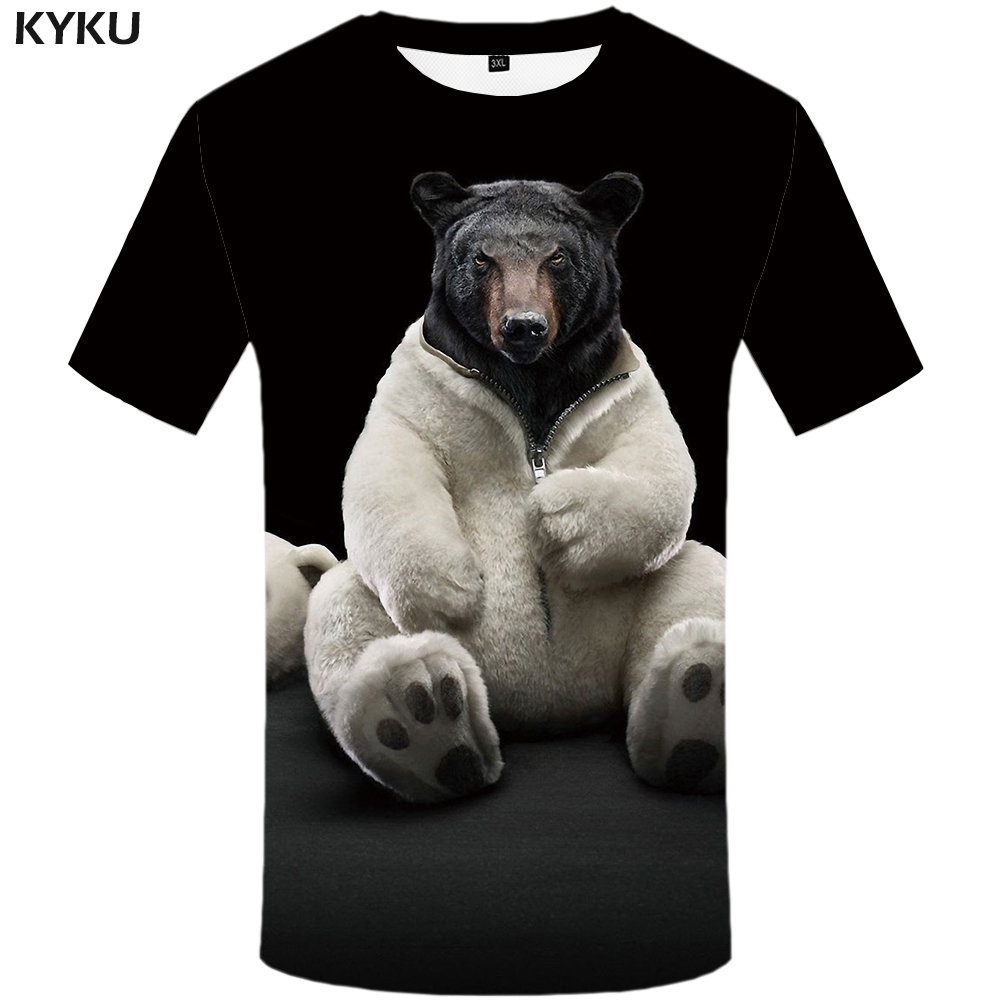 KYKU Bear Tshirt Men/Women Russia T Shirt 3d Print T-shirt Animal Short Sleeve Funny T Shirts Black Summer Clothing New 2019