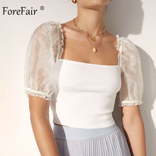 Forefair Square Neck Women Blouse White Puff Sleeve Crop Sexy Transaprent Sleeve Summer Tops Blouse Women(China)