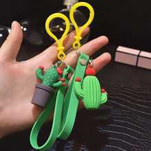 Simulation mini potted Keychain cactus Key Chain car plant cactus silicone Hot Key Ring gift Jewelry wholesale K2372