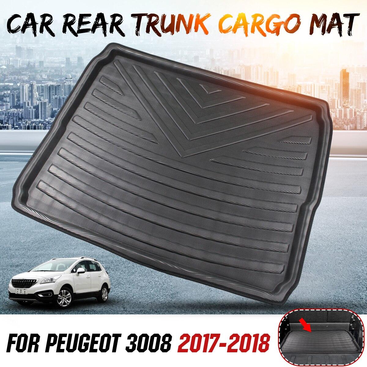 Car Interior Cargo Liner Boot Vassoio Posteriore del Tronco Copertura Zerbino t Zerbino Pavimento Tappeto Kick Pad Per Peugeot 3008 2017 2018
