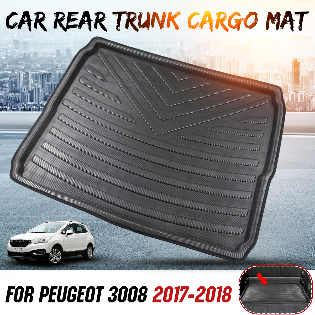 Interior del coche de carga de arranque bandeja trasera maletero cubierta Matt alfombra piso alfombra tiro Pad para Peugeot 3008, 2017, 2018