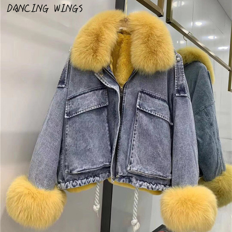 Winter Short Jacket Women Real Fur Coat Parka Natural Fox Collar Rex Rabbit Fur Liner Thick Warm Denim Jacket Streetwear