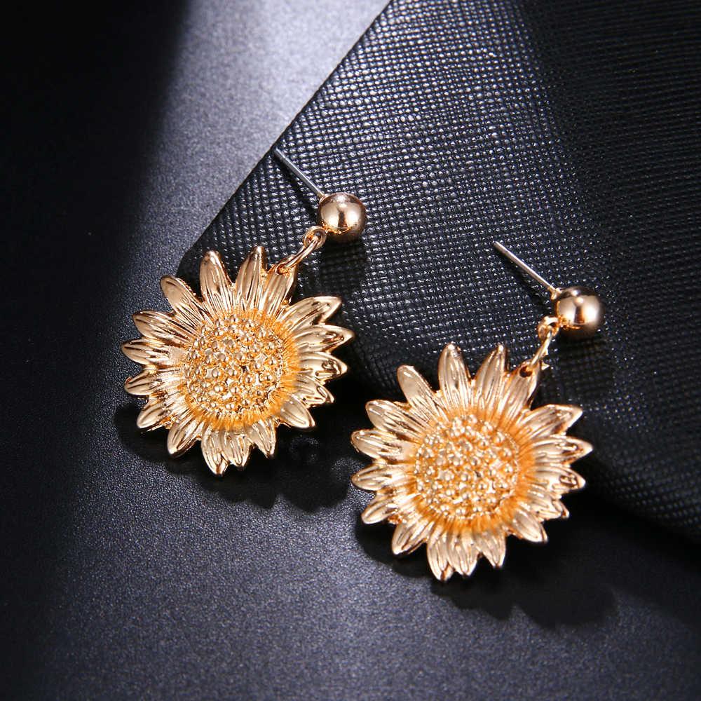 Sonnenblumen Runde ohrringe Metall Münze Quaste Ohrringe Für Mädchen Mode Frauen Big Floral Aussage Ohrringe Partei Schmuck