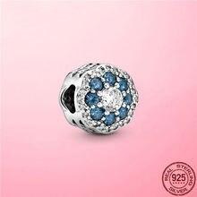 2021 novo 925 prata esterlina azul claro cz flor charme grânulos de floco de neve caber pulseira pandora original diy prata 925 jóias
