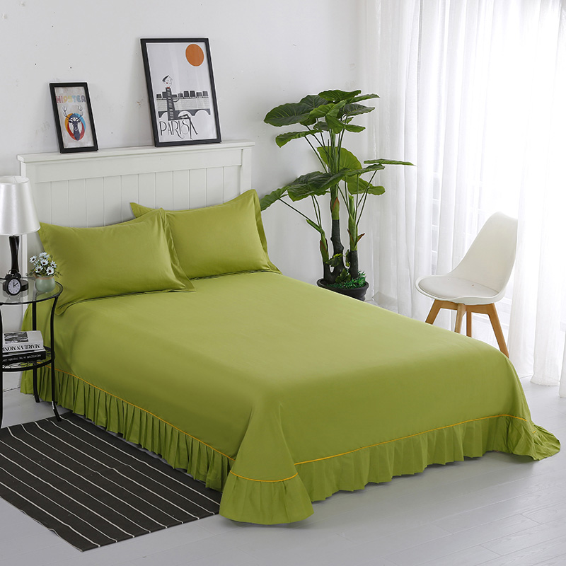 1pc Cotton Thickened Bed Sheet Fixed Strap Soft Non-Slip King Queen Solid Color Bed Cover Hight Quality Bedspread
