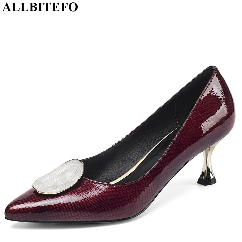 ALLBITEFO Metal Decoration Genuine Leather New Brand High Heels Casual Girl High Thick Heel Shoes Hot Sale Women Platform Shoes