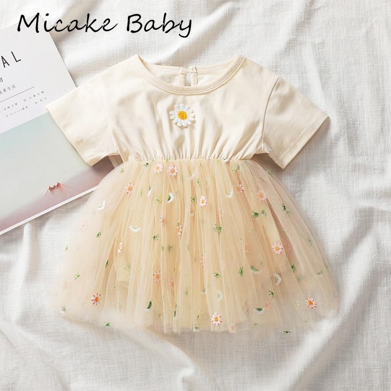 Nouveau-né bébé filles à manches courtes robe Daisy o-cou barboteuse fête danniversaire princesse maille robes été enfant en bas âge vêtements floraux