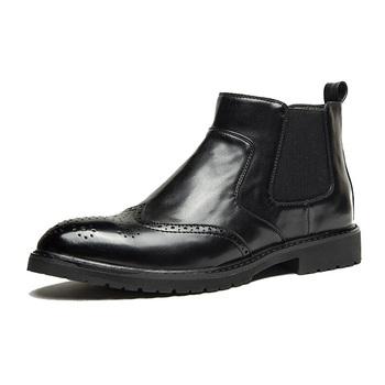 2020 jesień wczesnozimowej buty mężczyźni Chelsea Boots moda marka Pu skórzane obuwie męskie czarny brązowy KA2553 tanie i dobre opinie YUYAN HAPPY HOUR Podstawowe ANKLE Stałe Sztuczna skóra Bonded leather Szpiczasty nosek RUBBER Zima Mieszkanie (≤1cm)