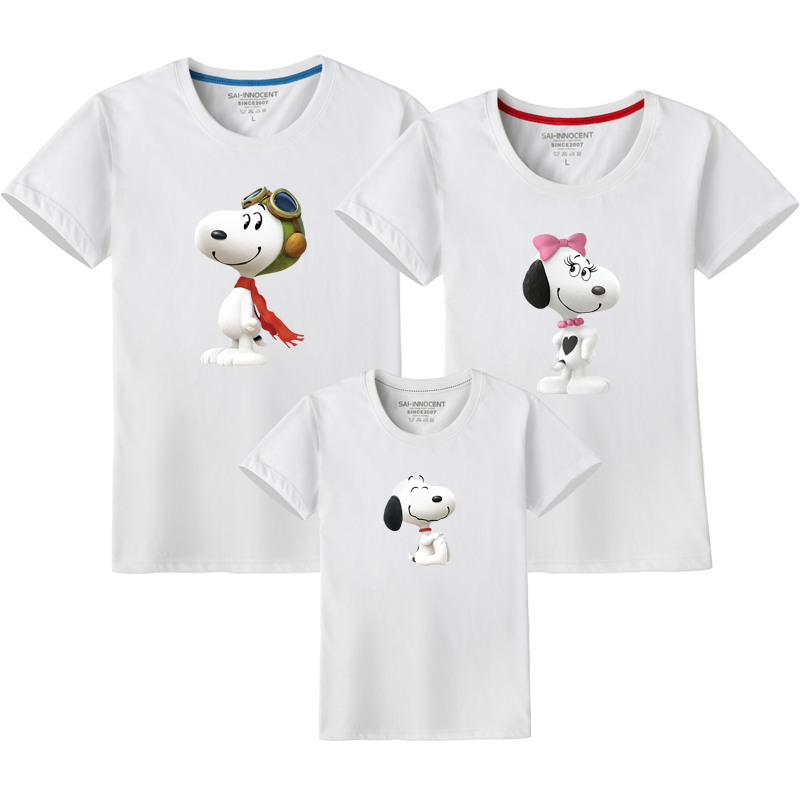 Dog T-Shirts Family Matching Clothes Mommy and Me Clothes Snoopy Short Sleeve T-Shirt Matching Outfits Boys Clothes Christmas image