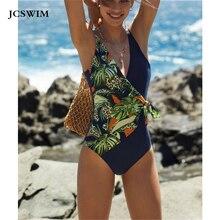 JCSWIM Sexy V Neck Swimwear Women Print Bikini Mujer 2020 Summer Beachwear Brazilian Swimsuit Women One Piece Halter Swim Suit sweet halter neck floral print one piece swimwear for women