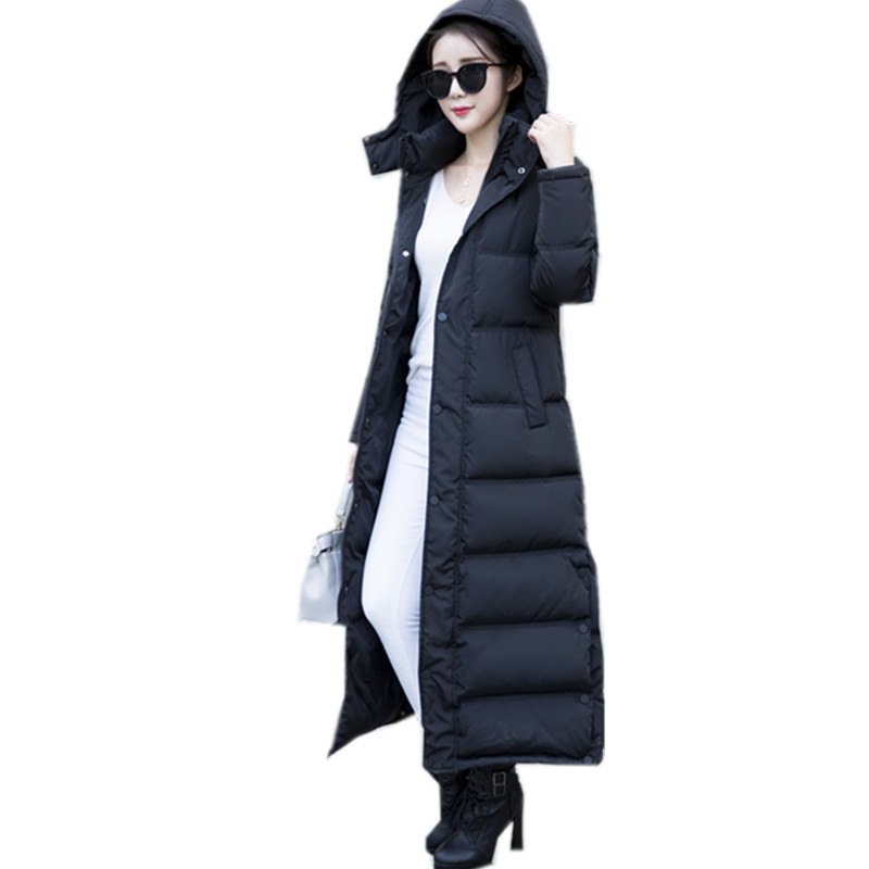 Black Long Thick Winter Coat 2020 Slim Women's Down Jacket Warm White Duck Down Coats Casacos De Inverno Feminino WXF138 S