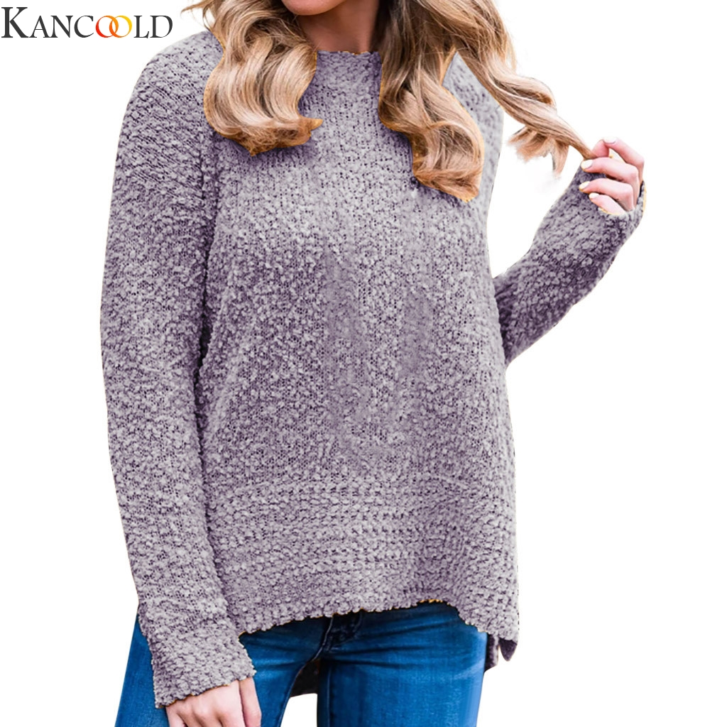 KANCOOLD Women Winter Sweater New Solid Color O Neck Base Long Sleeve Fashion Loose Harajuku High Quality Sweater Female Tops