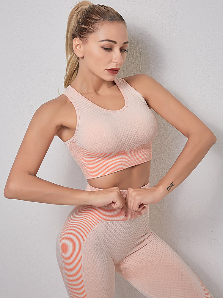 3 Pieces Set Seamless Sport Set Women Running Gym Clothing Tracksuit Sportswear Crop Top Yoga Pant Workout Set Fitness Clothes