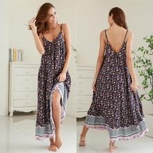 Plus Size Women Floral Print V Neck Spaghetti Strap Loose Maxi Dresses Long Beach Boho Sleeveless Dress S to 2XL 2019 Vestidos цена 2017