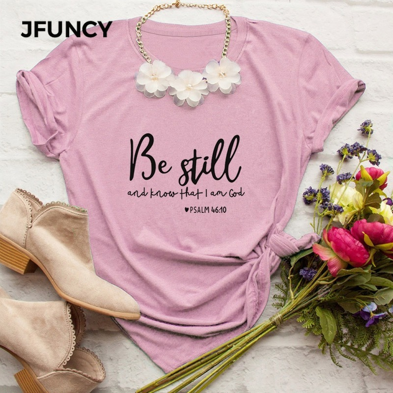 JFUNCY Be Still and Know That I Am <font><b>God</b></font> T-<font><b>shirt</b></font> Women Religious Christian Tshirt Casual Summer Faith Bible Verse Graphic Top Tee image