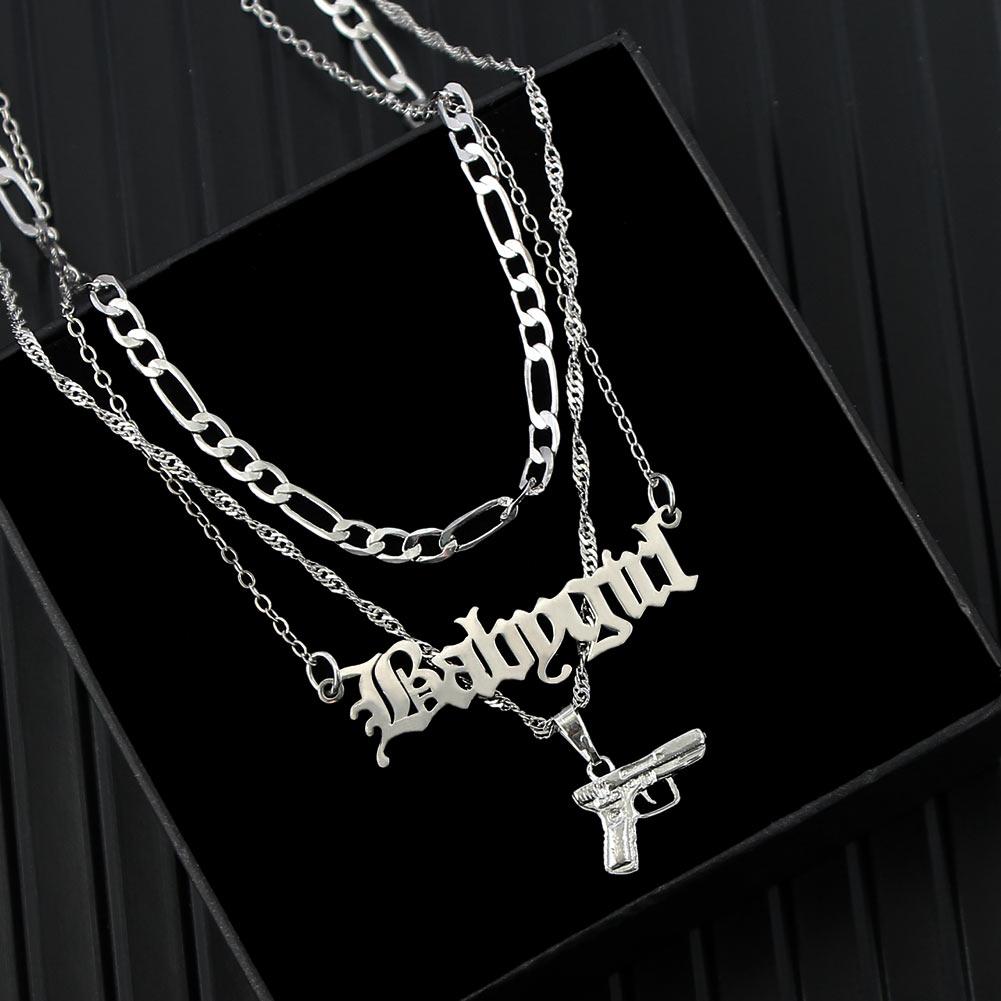 Flatfoosie Punk Hip Hop Silver Color Pistol Pendant Necklace Women Multilayer Babygirl Letter Clavicle Chain Necklace Jewelry Chain Necklaces  - AliExpress
