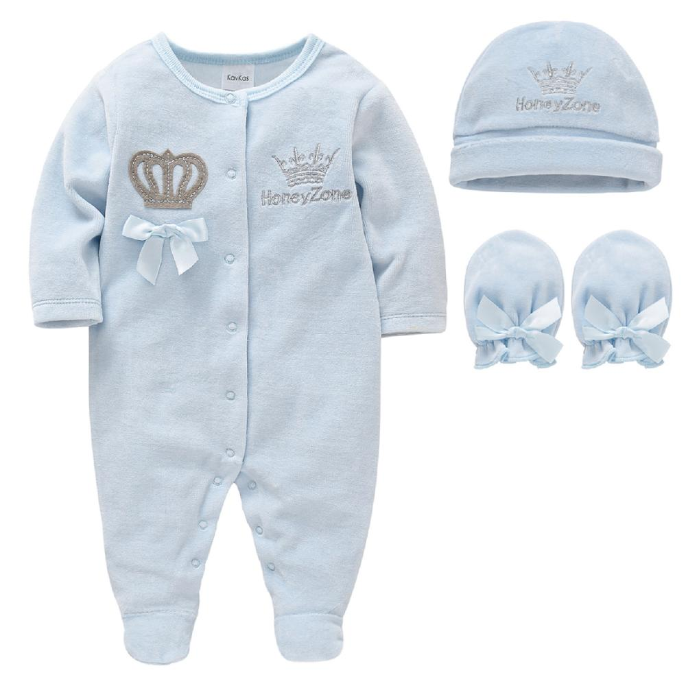 Baby Boys Rompers Royal Crown Prince Clothing Sets with Cap Gloves Infant Newborn One-Pieces Footies Overall Pajamas Velour