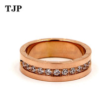 цены Fashion Top Quality Titanium Steel Carving Micro Inlaid Zircon Rose Gold Colour Ring Brand Wedding Jewelry Love Ring For Woman