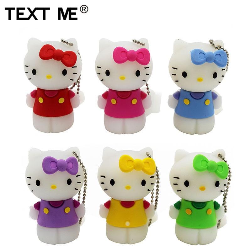 TEXT ME Red Pinl Bule Gree Yellow Colour Cute Hello Kitty Shoe Usb Flash Drive Usb 2.0 4GB 8GB 16GB 32GB 64GB Pendrive Gift