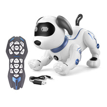 LE NENG TOYS K16A Electric Pets Toy RC Robot Dog Voice Remote Control Toys with Music Song Function for Kids Christmas Gifts
