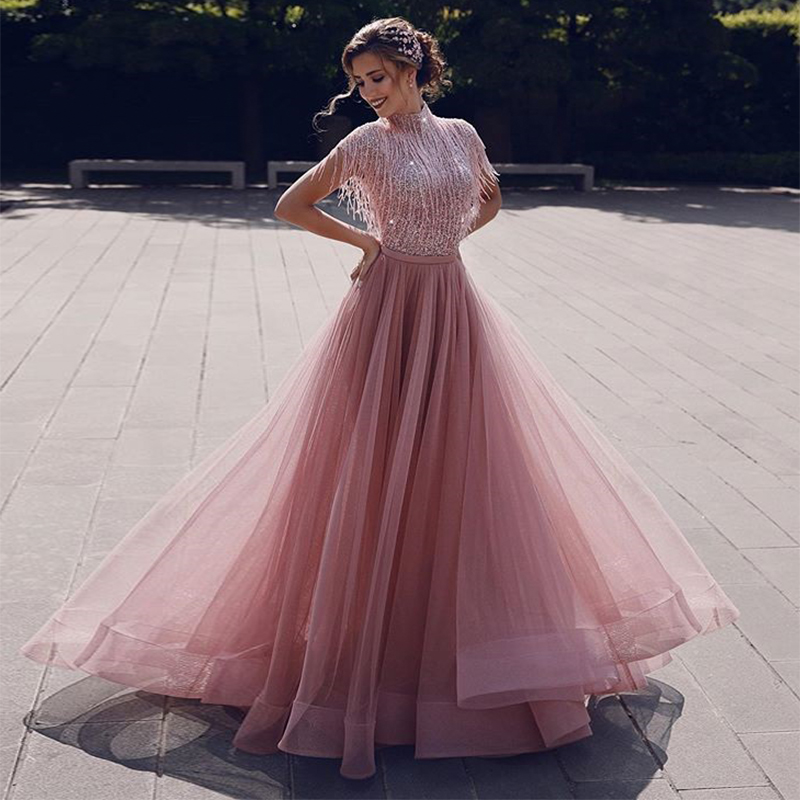 Modest High Neck Cap Sleeve Sequined Long Gown Evening Dress with Tassel