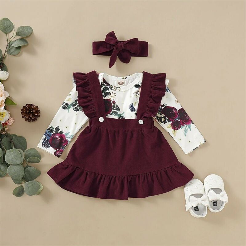 2020 Fashion Newborn Baby Girl Clothes Cotton  Romper Bodysuit Strap Skirts Headband Outfits Set 0-24 Months