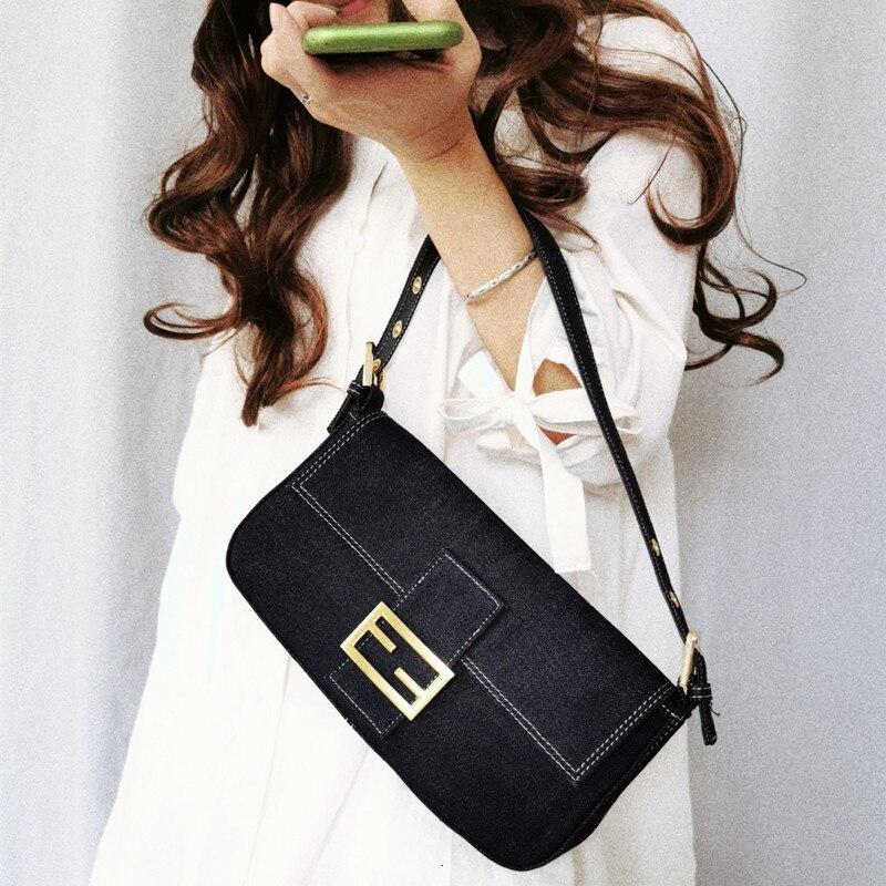 Ins Retro Denim Blue Thread Baguette Bags For Women Designer Shoulder Bag Handbags Female Famous Brands Handbag 2019 New OC768
