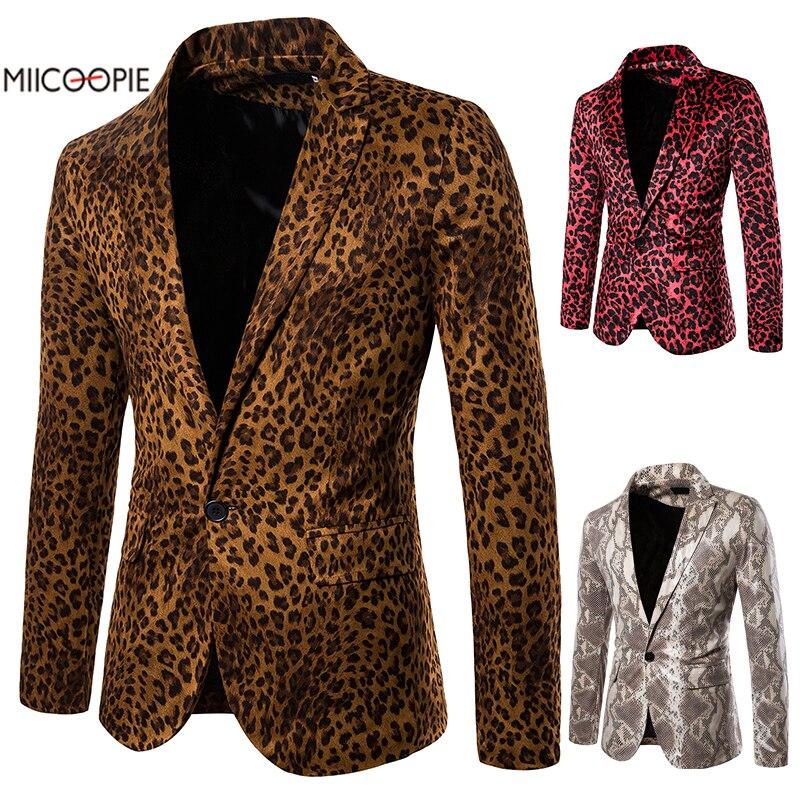 Mens Suit Blazer Jacket Brand Embellished Blazer Male Slim DJ Club Stage Blazer Formal Wedding Leopard Performance Suit Coat
