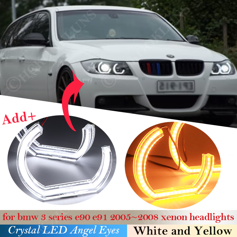 Crystal LED Angel Eyes DTM Style Halo Rings Light kits For BMW 3 Series E90 E91 2005 ~2008 Xenon headlight Turning Signal 2007 image