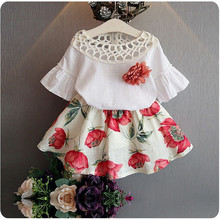 summer girl clothing  new casual flower flare sleeves children princess dress +T-shirt 2 pcs for 2-7 years dresses 40