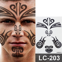 tribal tattoo waterproof temporary neck stickers face makeup small tattoos men black henna for boys body decal
