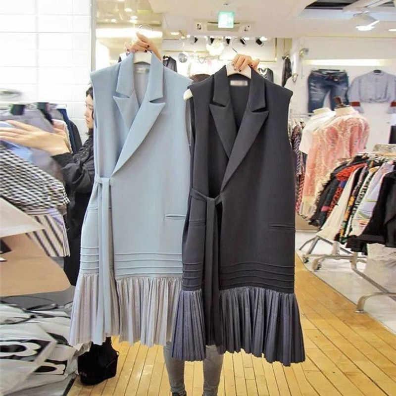 2020 ฤดูใบไม้ร่วงฤดูหนาวเสื้อแจ็คเก็ตเสื้อผู้หญิง Waistcoat เกาหลี Lady Slim จีบเสื้อกั๊กเข็มขัด Outwear GILET