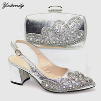 Italian Style Applique Stones Shoes And Bag To Match Set New Fashion High Heels Woman Shoes And Bag Set For Wedding Size 38 42