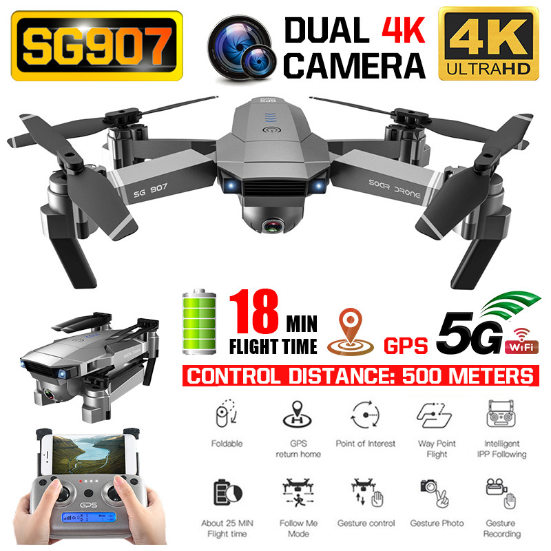 SG907 Drone GPS 4K HD X50 ZOOM Camera Anti-shake 5G Wifi 500M Professional Quadcopter RC Helicopter Foldable Selfie Drones Xmas