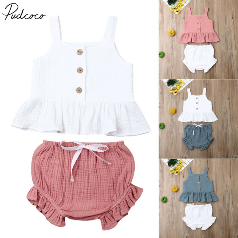 2019 Baby Summer Clothing 2PCS Infant Newborn Baby Girl Off Shoulder Crop Top Striped Short Pants Outfit Clothes 6M-5T