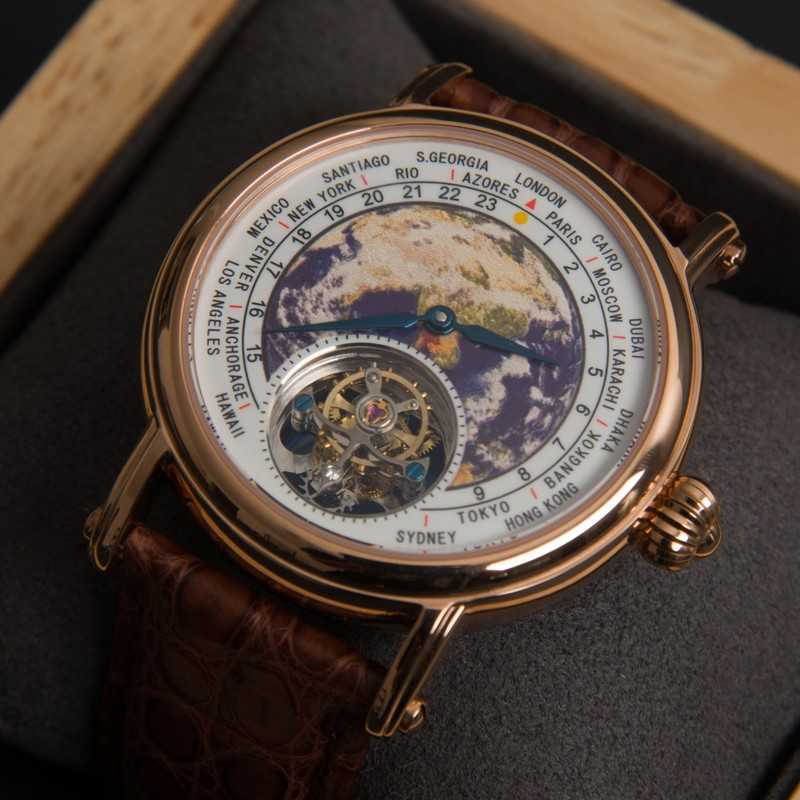 Top Brand 100% Tourbillon Watch Men Luxury 3D Enamel Earth Dial Mechanical Movement Mens Clock Alligator Leather Relogio Male
