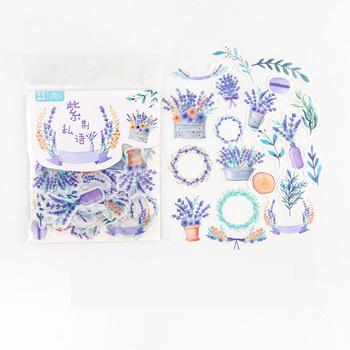 40 sztuk worek fioletowe fioletowe kwiaty dekoracyjne naklejki Album pamiętnik konto ręczne Decor tanie i dobre opinie Able Kids CN (pochodzenie) C2-21 3 lata sticker paper 10 5*9CM