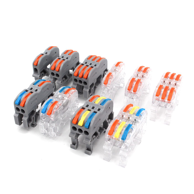 Din Rail Wire Connector Color 211 212 Fast Universal Compact Electric Cable LED Conector Wiring Conductor Push-in Terminal Block