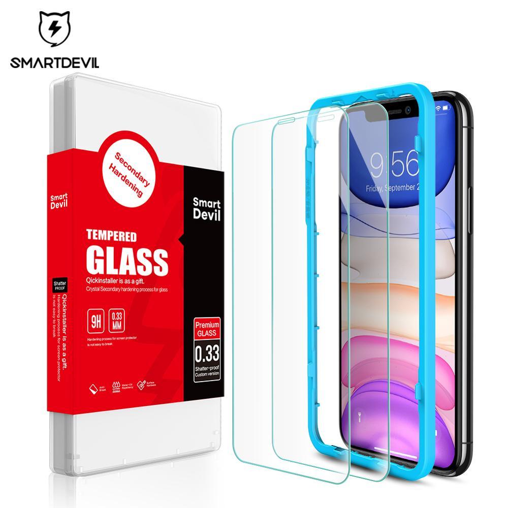 SmartDevil pellicola salvaschermo per iPhone 11 12 Pro Max 7 8 Plus vetro temperato curvo per iPhone SE X Xs Max Xr pellicola salvaschermo