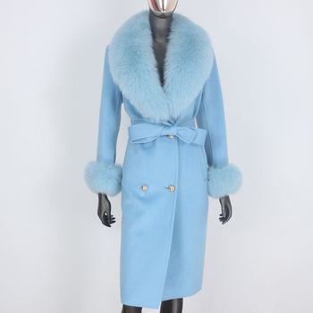 BLUENESSFAIR 2020 Cashmere Wool Blends Real Fur Coat Double Breasted Winter Jacket Women Big Natural Fox Fur Collar Outerwear